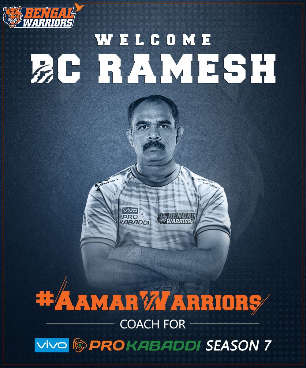 BC Ramesh Season 7b Pro Kabaddi League Bengal Warriors Coach