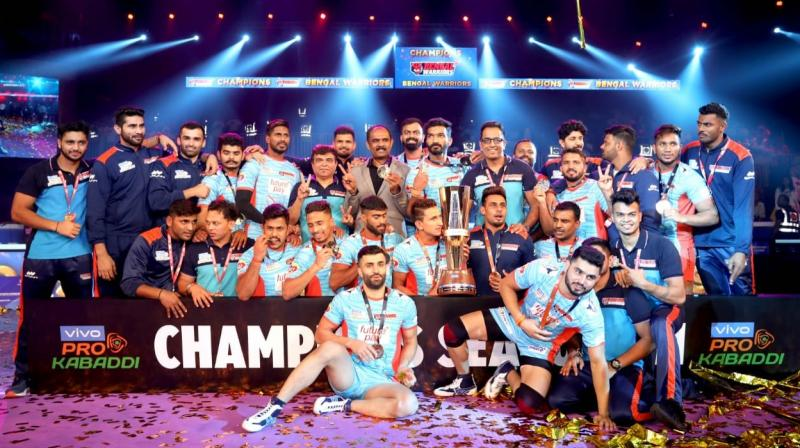 Bengal Warriors with the PKL 7 trophy