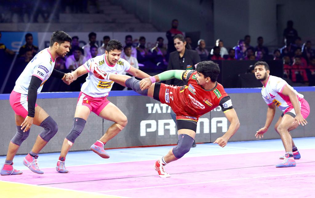Bengaluru Bulls' Pawan Kumar Sehrawat showcases his raiding skills against JPP defence