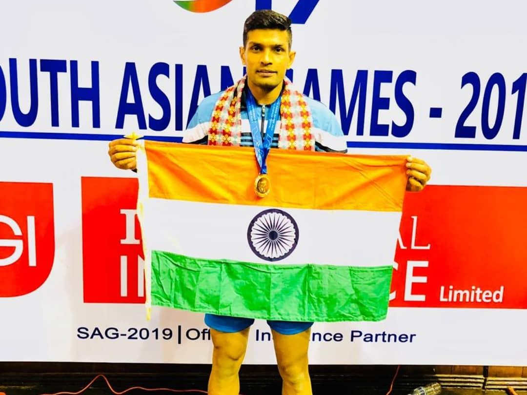 Deepak Niwas Hooda after winning gold at 2019 SAF Games