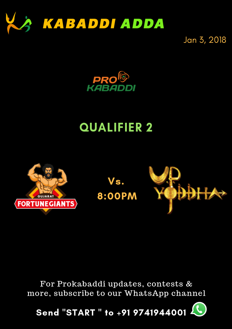 Prokabaddi season 6, qualifier 2 schedule