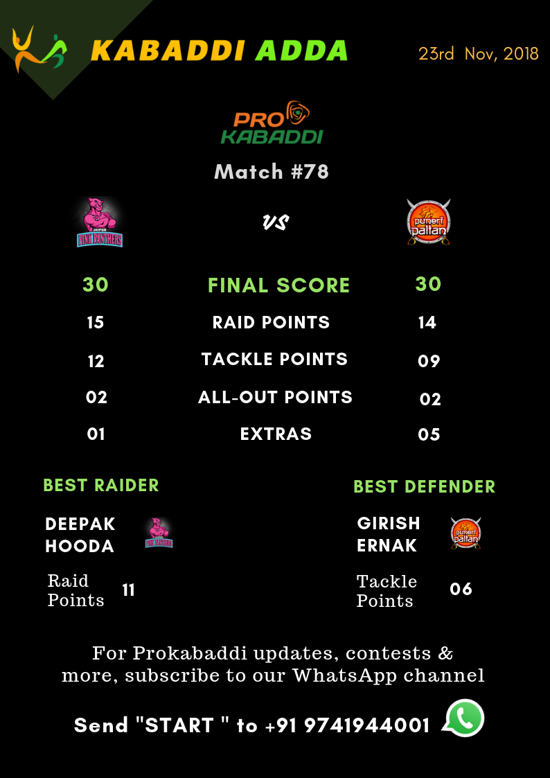 Puneri Paltan Vs. Jaipur Pink Panthers Final Score