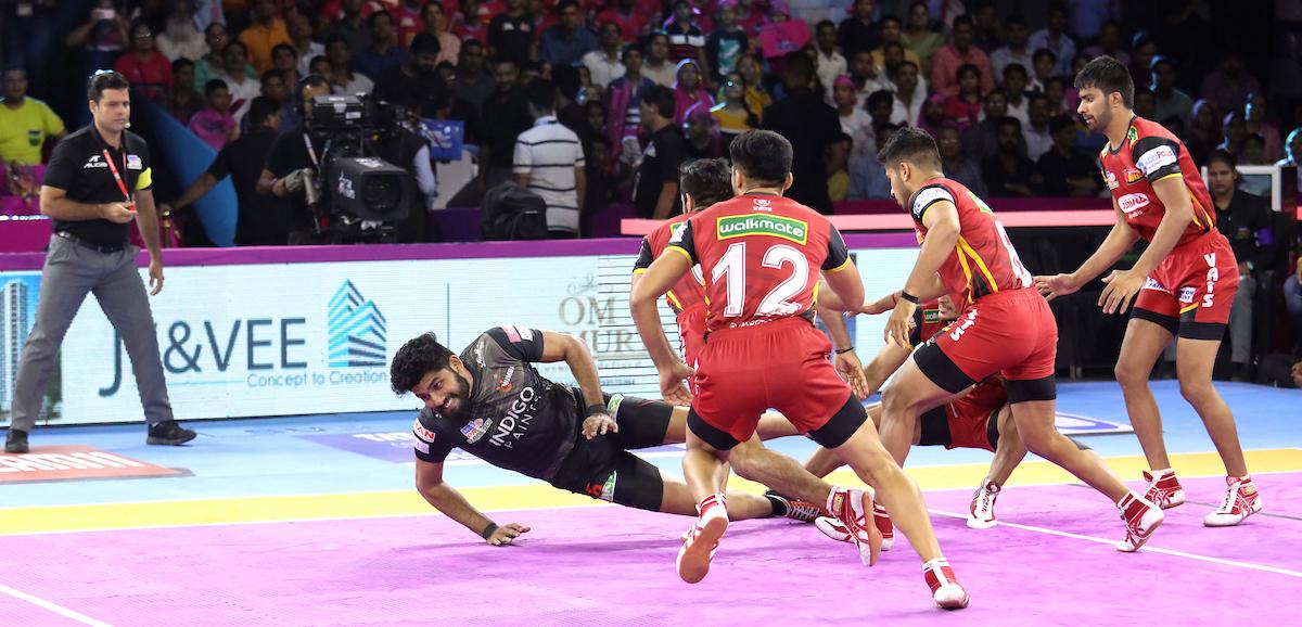 Athul against Bengaluru Bulls