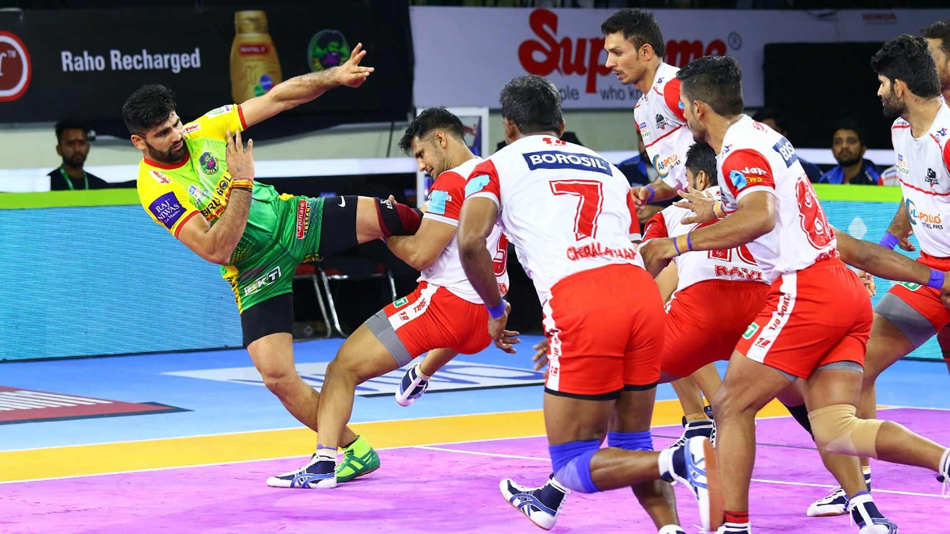 Pardeep Narwal taking 900th raid point of PKL carrier and 10th raid point of the match