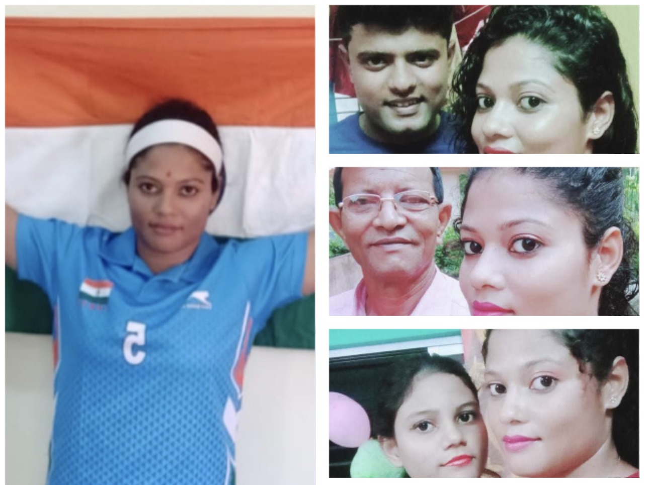 Payel Chowdhury with her husband Prasanta Karmakar, father and sister (top to bottom)
