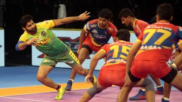 Patna Pirates captain Pardeep Narwal in action