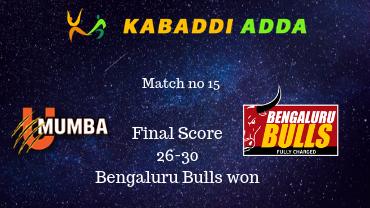 Pro Kabaddi Live U mumba vs Bengaluru Bulls
