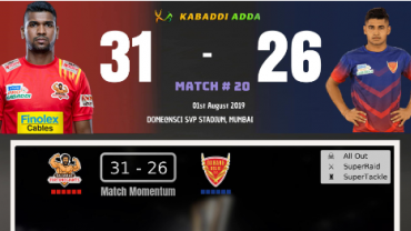 Pro Kabaddi Live Gujarat Fortune Giants vs Daband Delhi KC