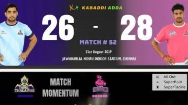 Pro Kabaddi Live Tamil Thalaivas vs Jaipur Pink Panthers