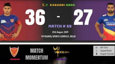 Pro kabaddi Live Dabang Delhi vs UP Yoddha