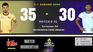 Telugu Titans is playing against Tamil Thalaivas