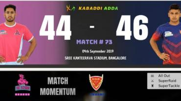 Jaipur Pink Panthers is playing against Dabang Delhi