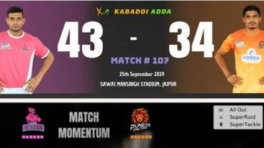 Jaipur Pink Panthers vs Puneri Paltan