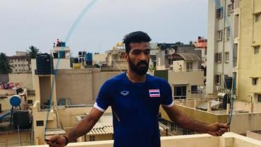 Sukesh Hegde working out at his terrace