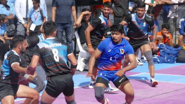 Pawan Sehrawat in action during the 67th Senior Nationals Kabaddi Championships