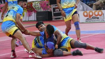 Action from the recently concluded Senior National Kabaddi Championship